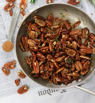 Vegan Roasted Sweet and Spicy Rosemary Pecans