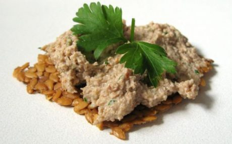 raw walnut onion pate cracker