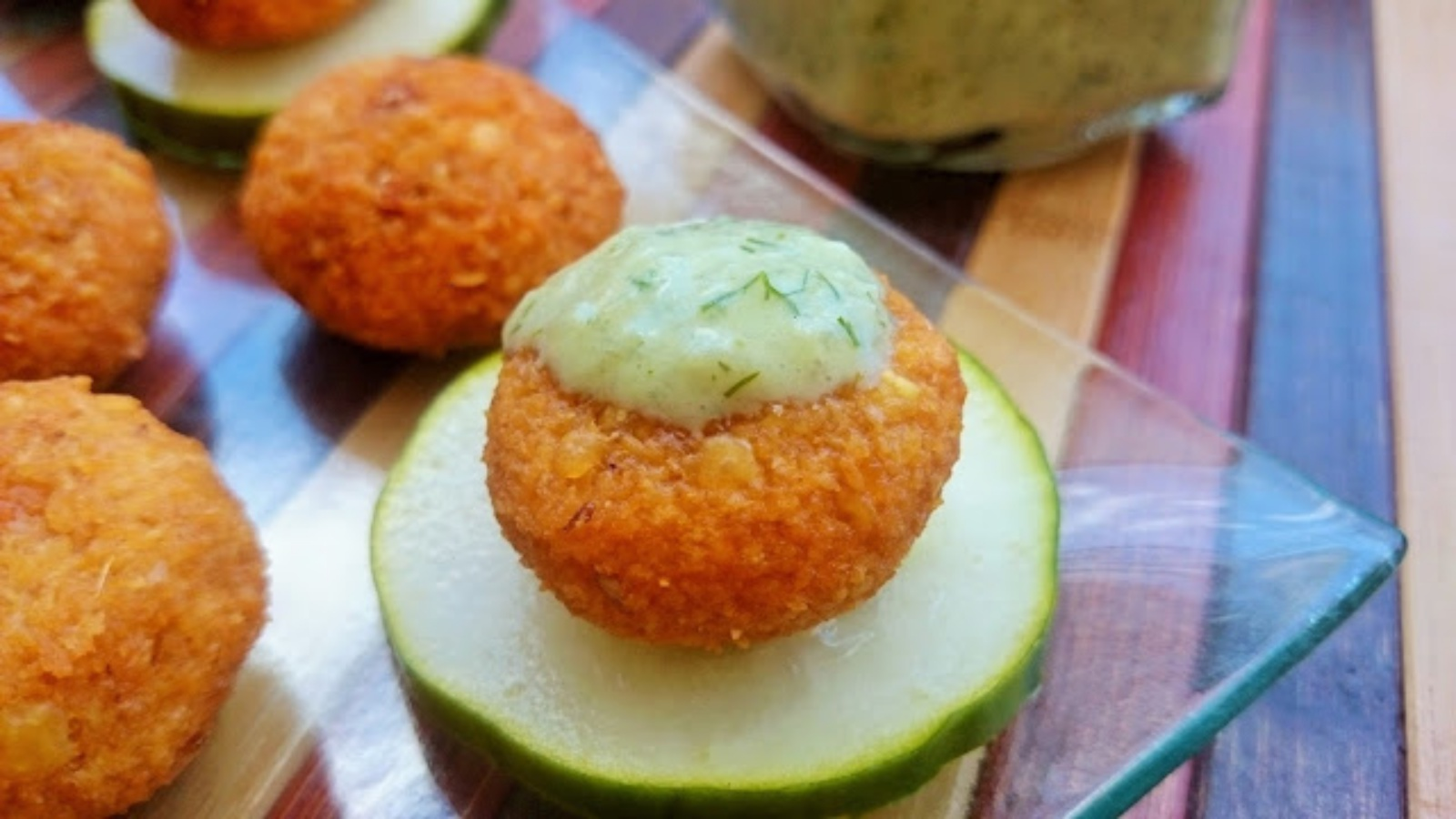 red lentil fritters with cucumber yogurt sauce