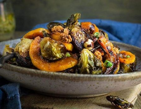 vegan Roasted Brussels Sprouts and Squash Salad With Horseradish Dressing for autumn