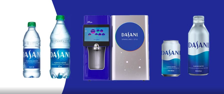 Dasani aluminum cans and bottles and vending machine