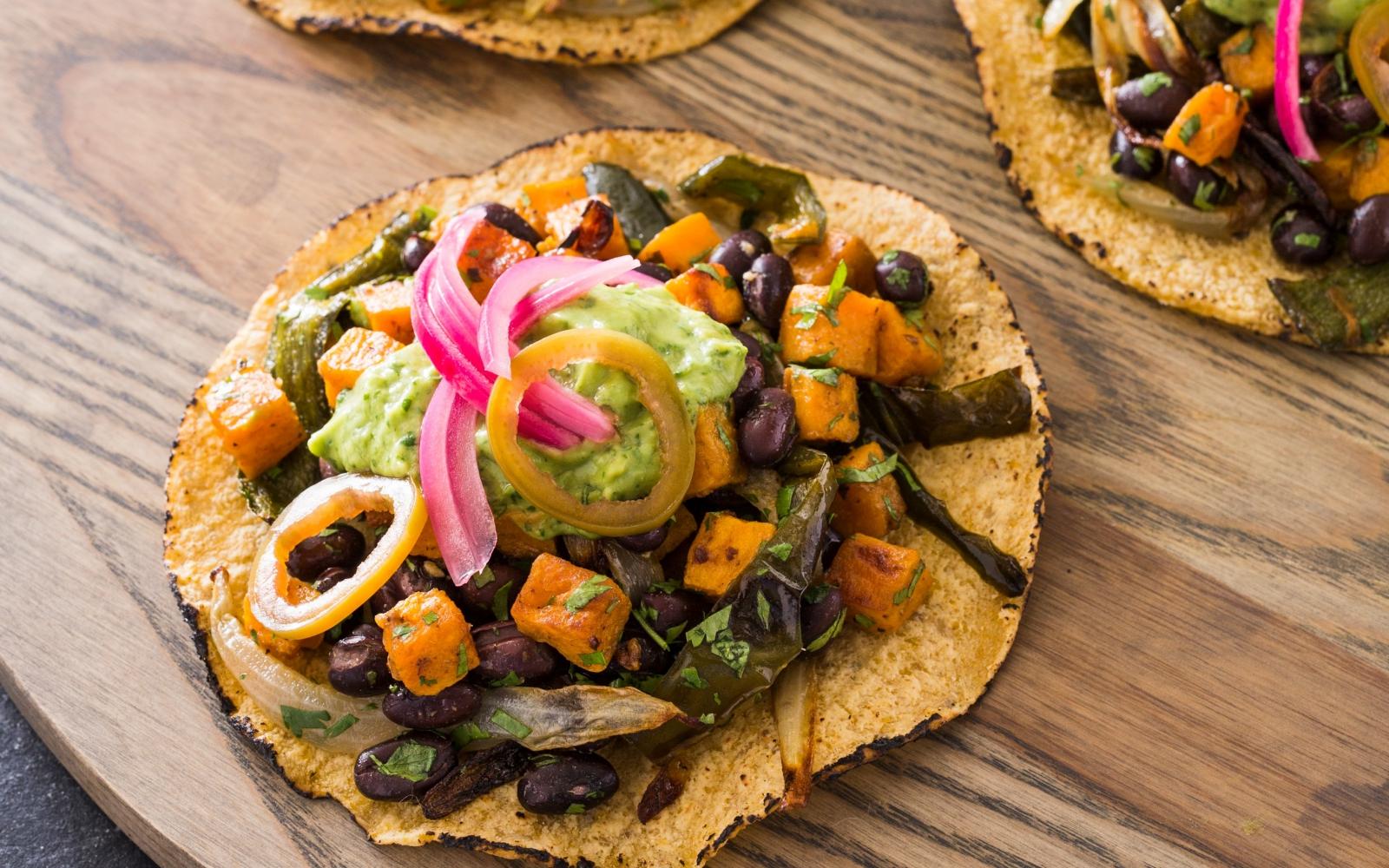 Vegan Sweet Potato, Poblano, and Black Bean Tacos