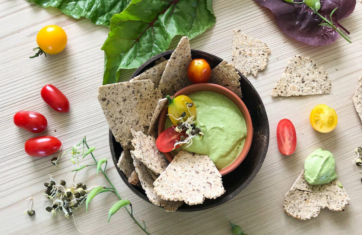Vegan Whole Food Nachos With Mockamole Green Dip