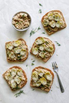 Vegan White Bean Ricotta & Baby Artichoke Toast