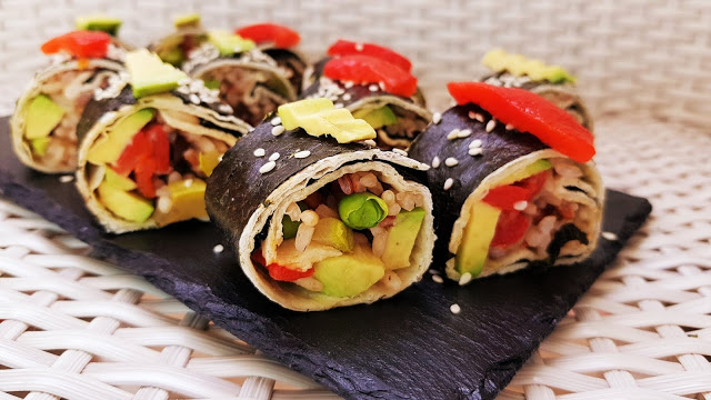 Vegan Tortilla Sushi Rolls With Rice and Vegetables