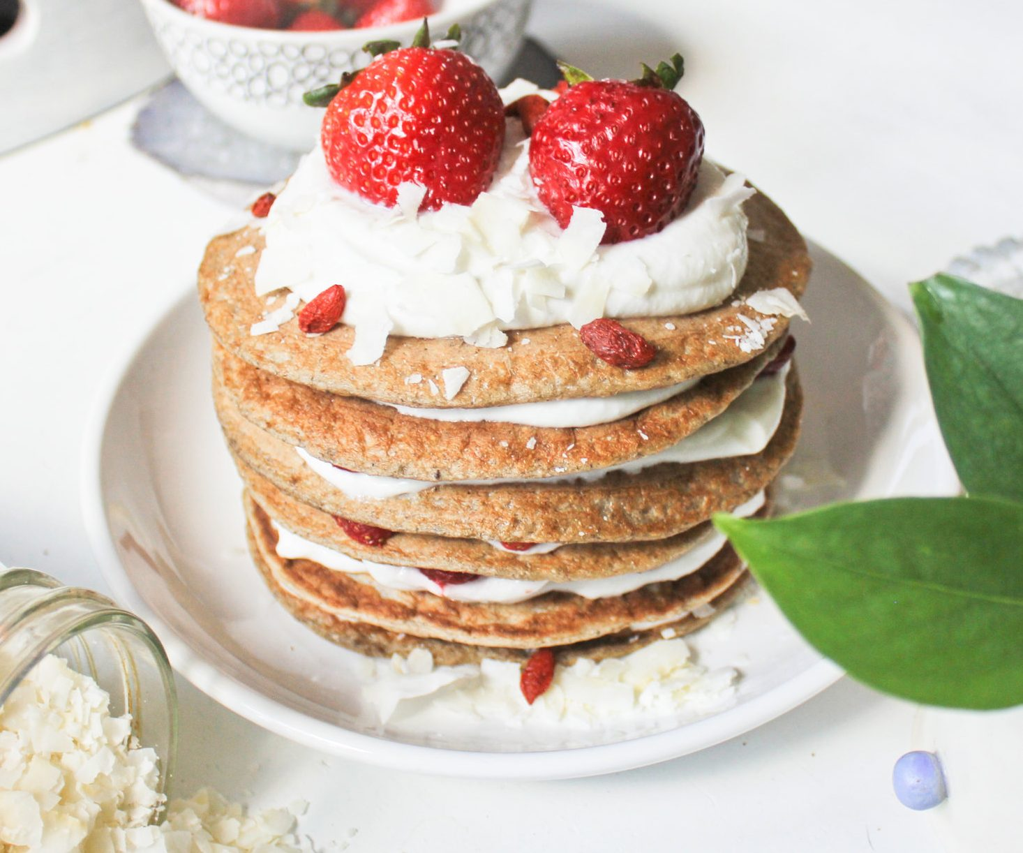 vegan Strawberry Shortcake Pancakes With Coconut Whipped Cream