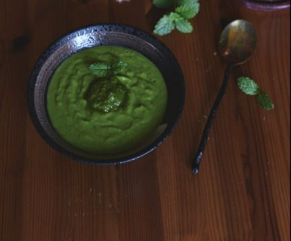 vegan summer greens soup with spicy mint sauce