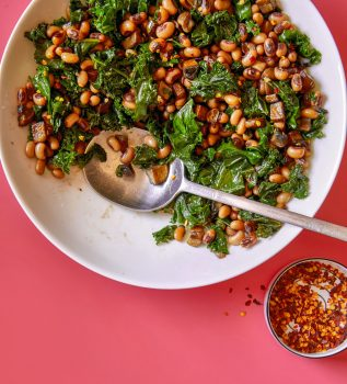 mushroom lardons with black-eyed peas and greens