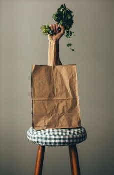 Plant growing out of grocery bag