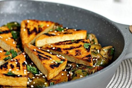 vegan Brussels Sprouts and Tofu