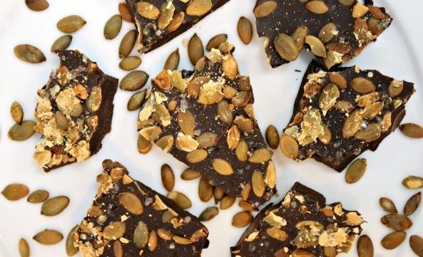 vegan Chocolate Pumpkin Seed Bark