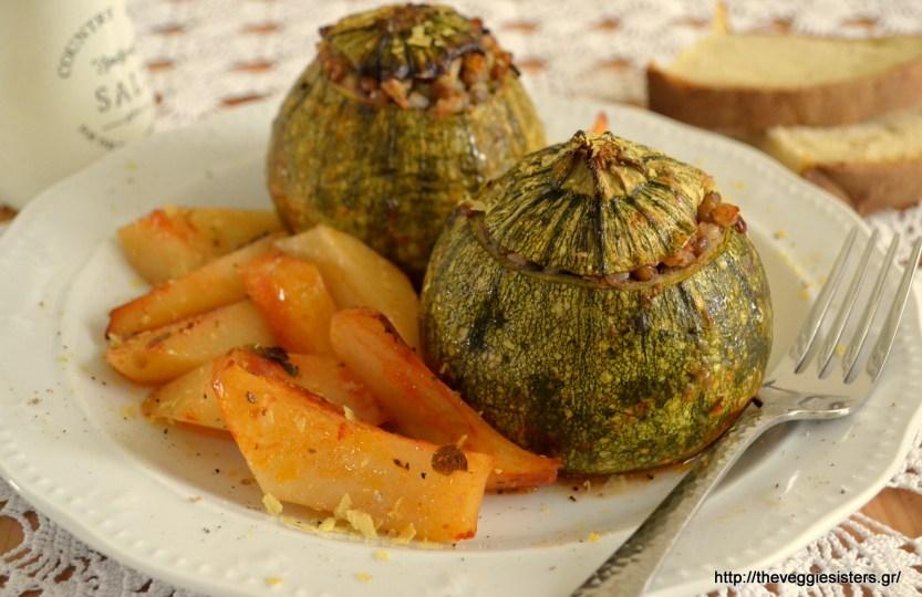 Vegan Round Zucchini Stuffed With Buckwheat and Lentils
