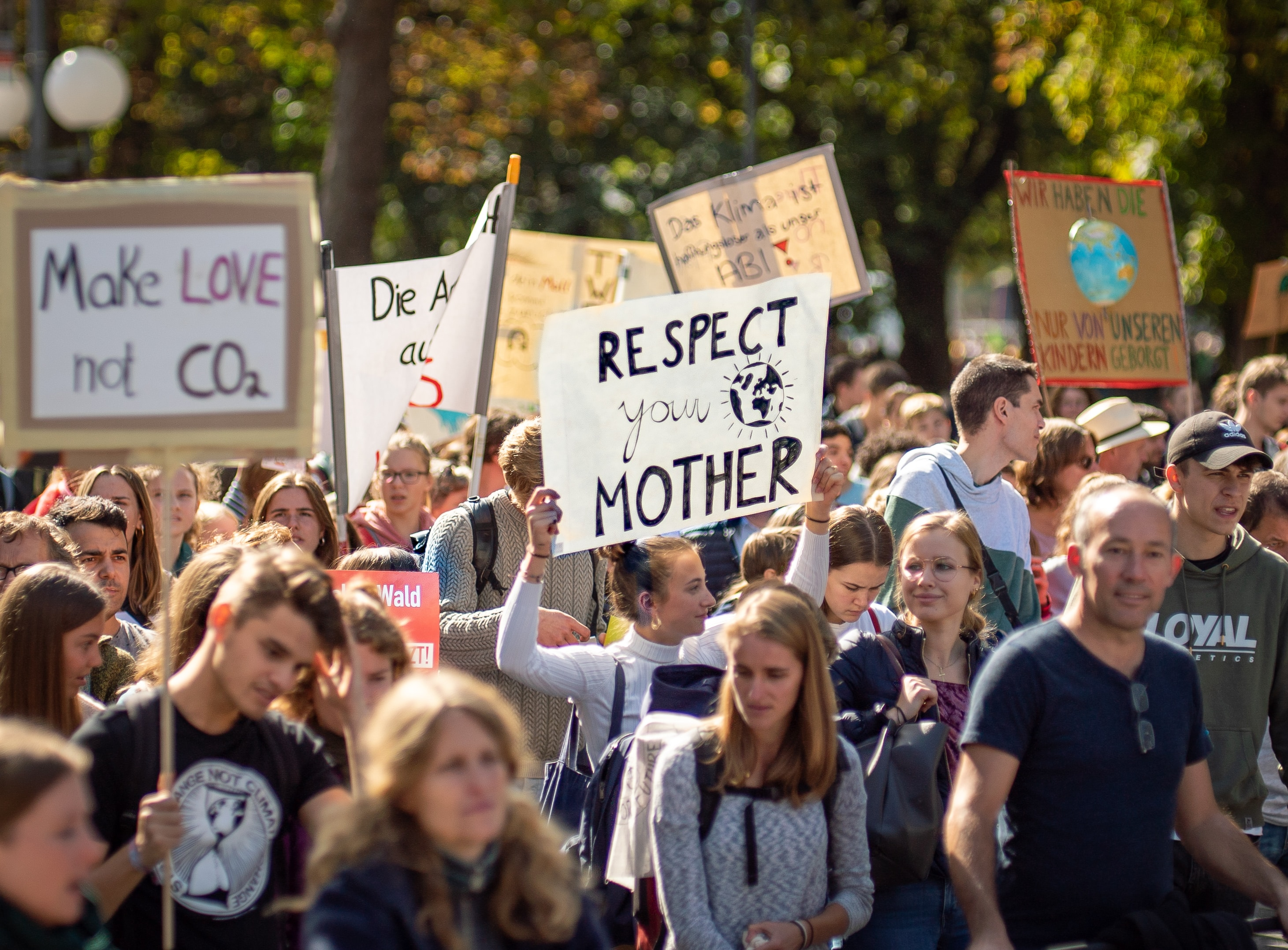 Group of Climate Change Protest Signs