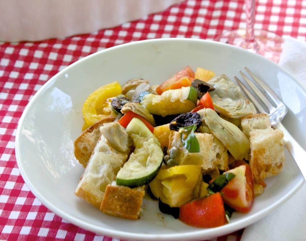 Vegan Zucchini Artichoke Panzanella