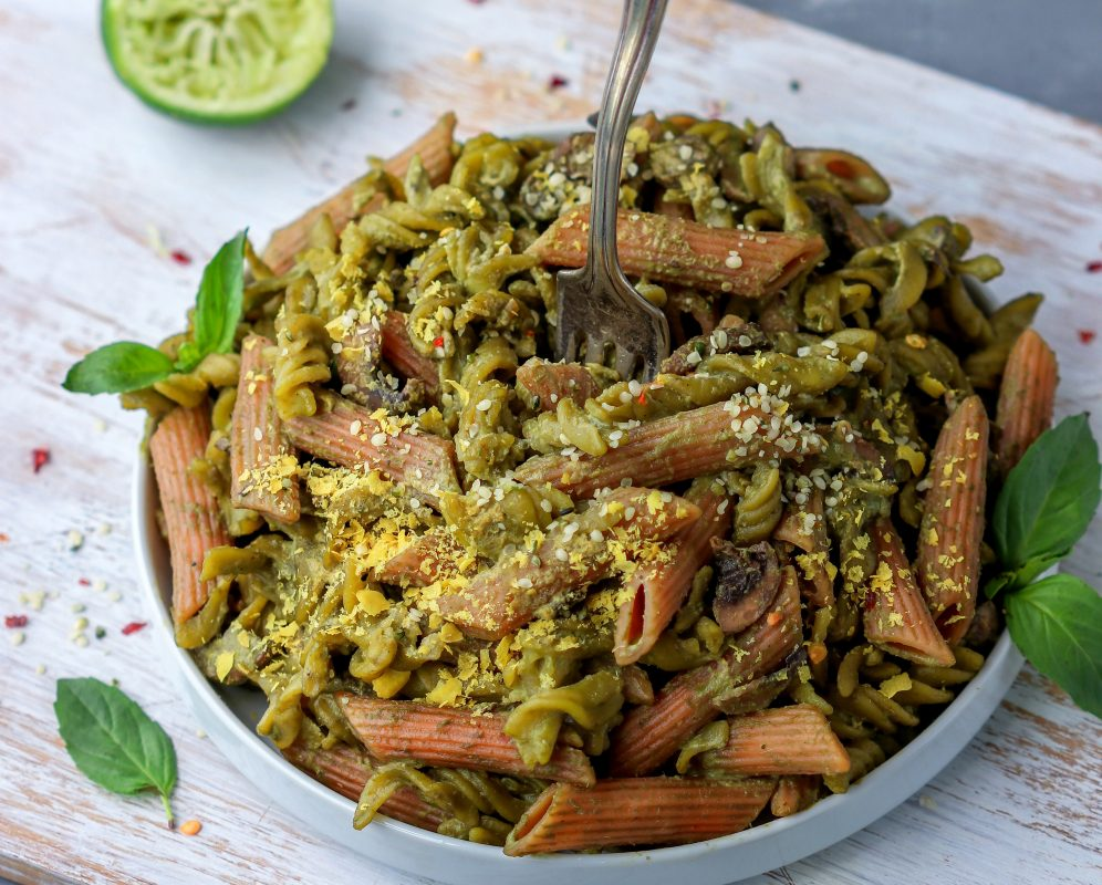 Vegan Kale Walnut Pesto Pasta