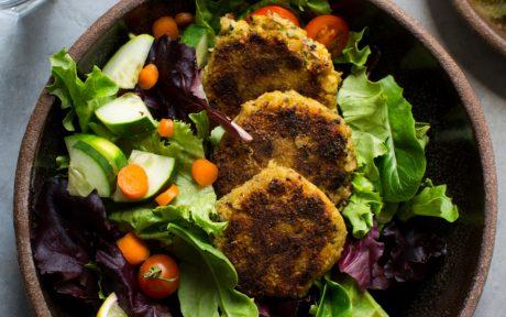 quinoa falafel in salad