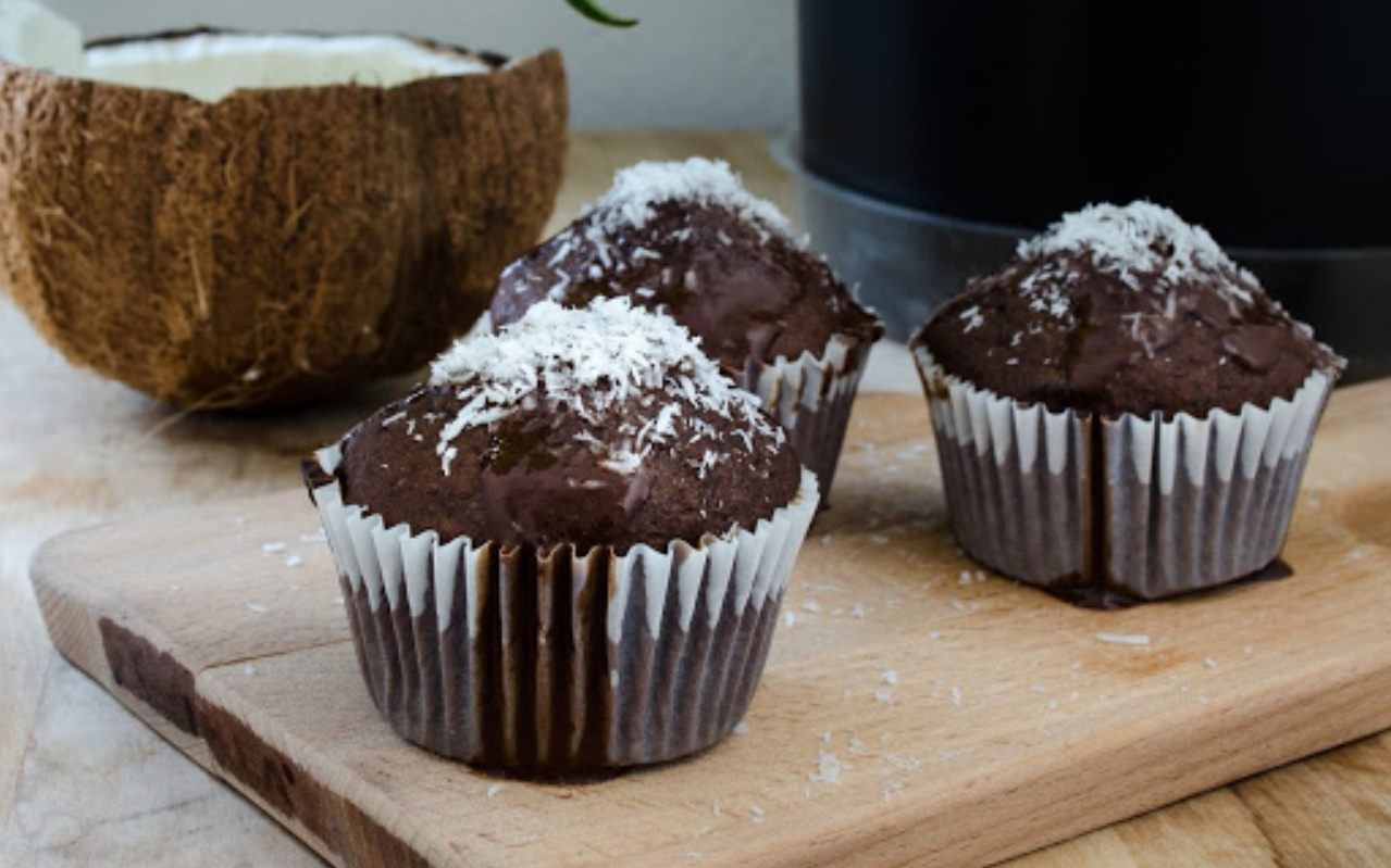 salted coconut chocolate muffins