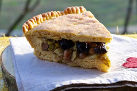 vegan Radicchio Vegetable Pie With Olives and Raisins