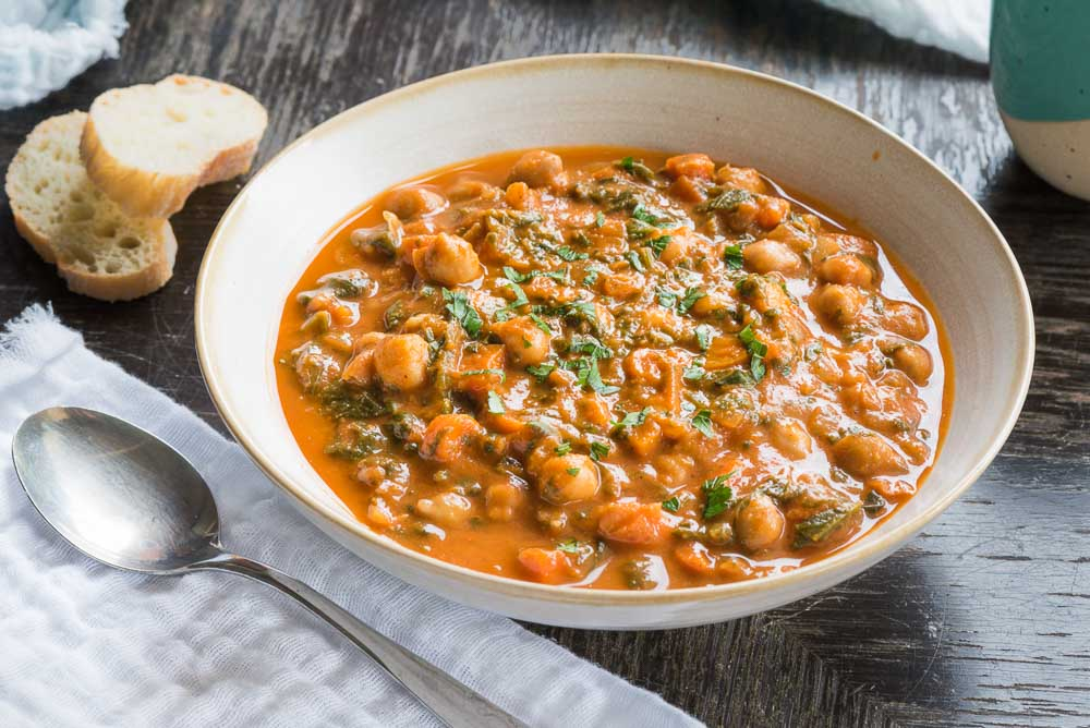 Vegan Chickpea Spinach Stew