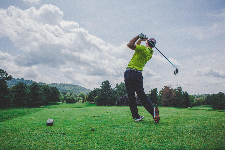 Man Hitting a Golf Ball