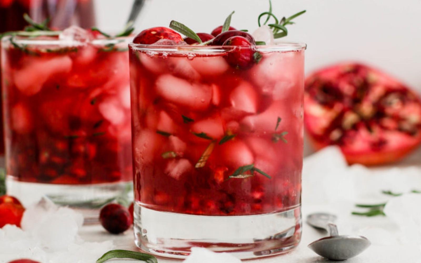 cranberry pomegranate kombucha mocktail