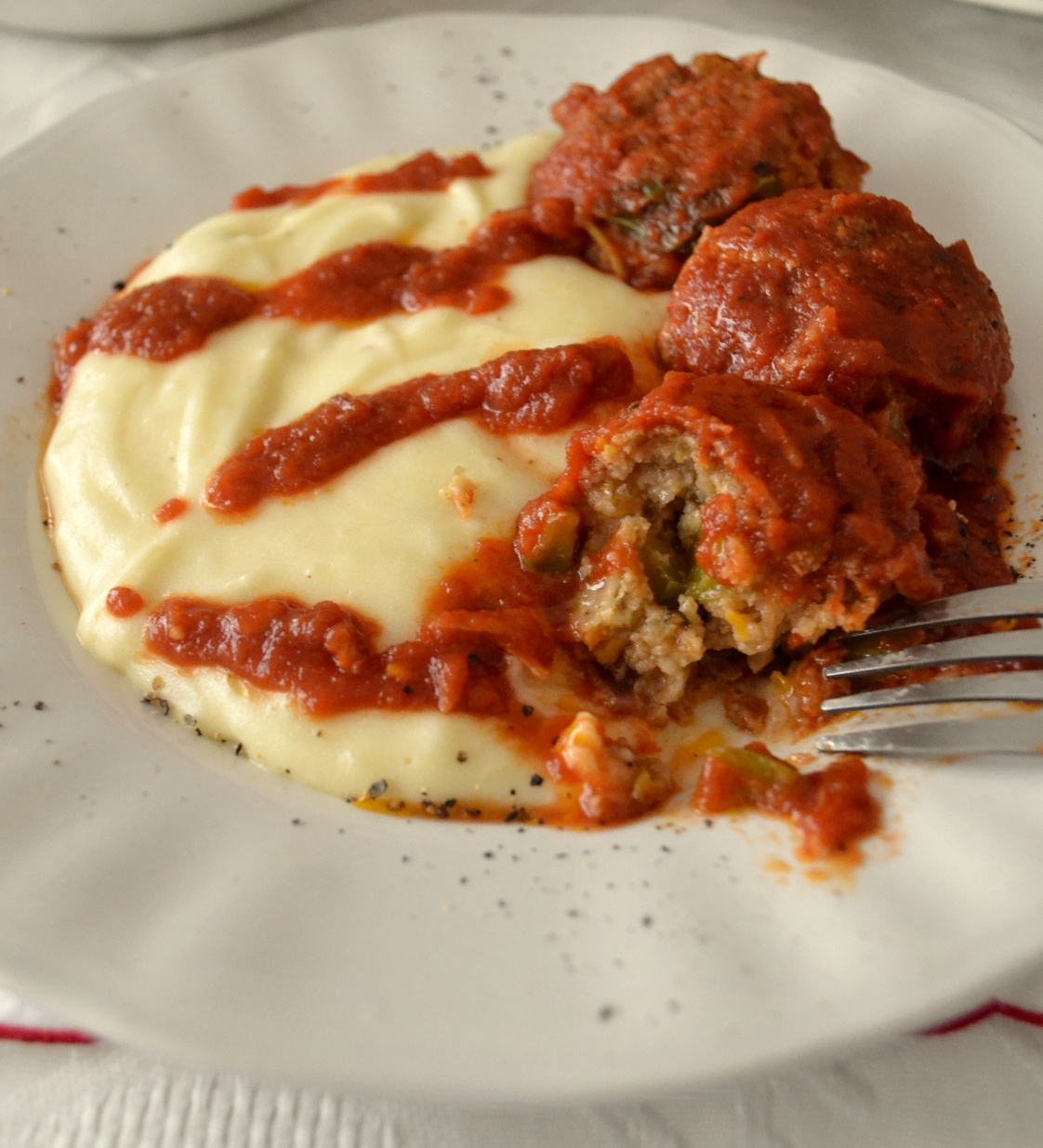 vegan Red Soy Meatballs and Tomato Sauce