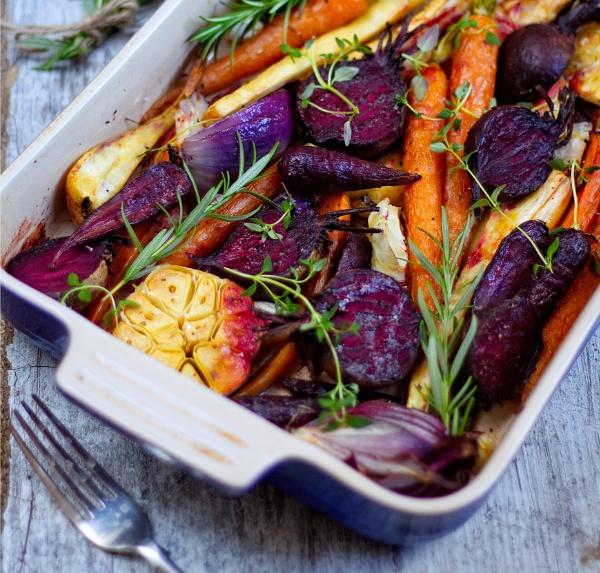 vegan colorful roasted root veggies