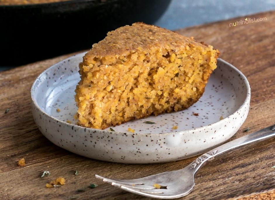 Vegan Cornbread slice gluten free
