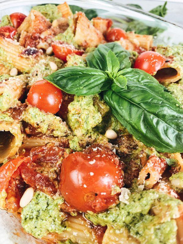 Pasta with Pesto and Tomato Sauce