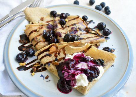 vegan blueberry protein crepes