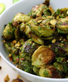 Vegan Roasted Italian Brussels with Arugula Pistachio Pesto