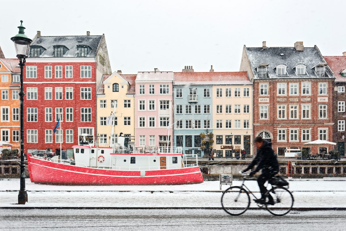 Man on Bicycle Outside Copenhagen