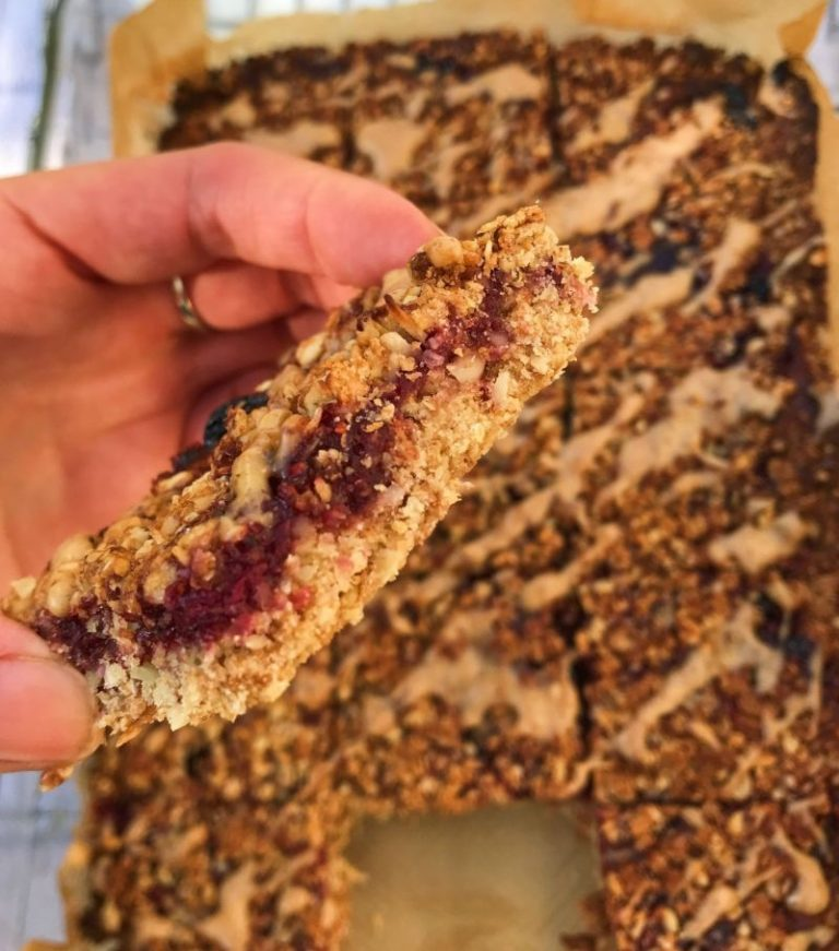 Vegan Peanut Butter and Jelly Flapjacks