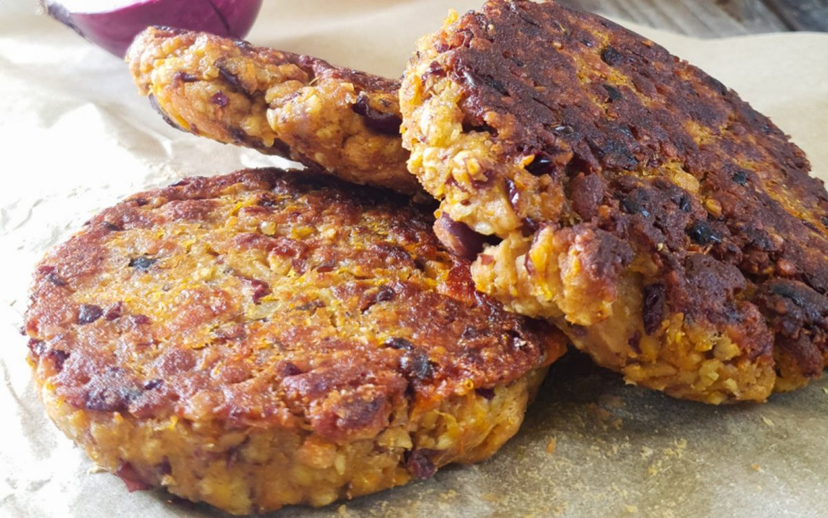 High-protein pumpkin veggie burger