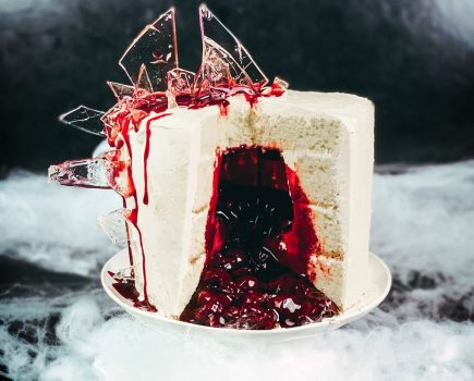 vegan shattered glass cake cherry compote vanilla cake vegan halloween