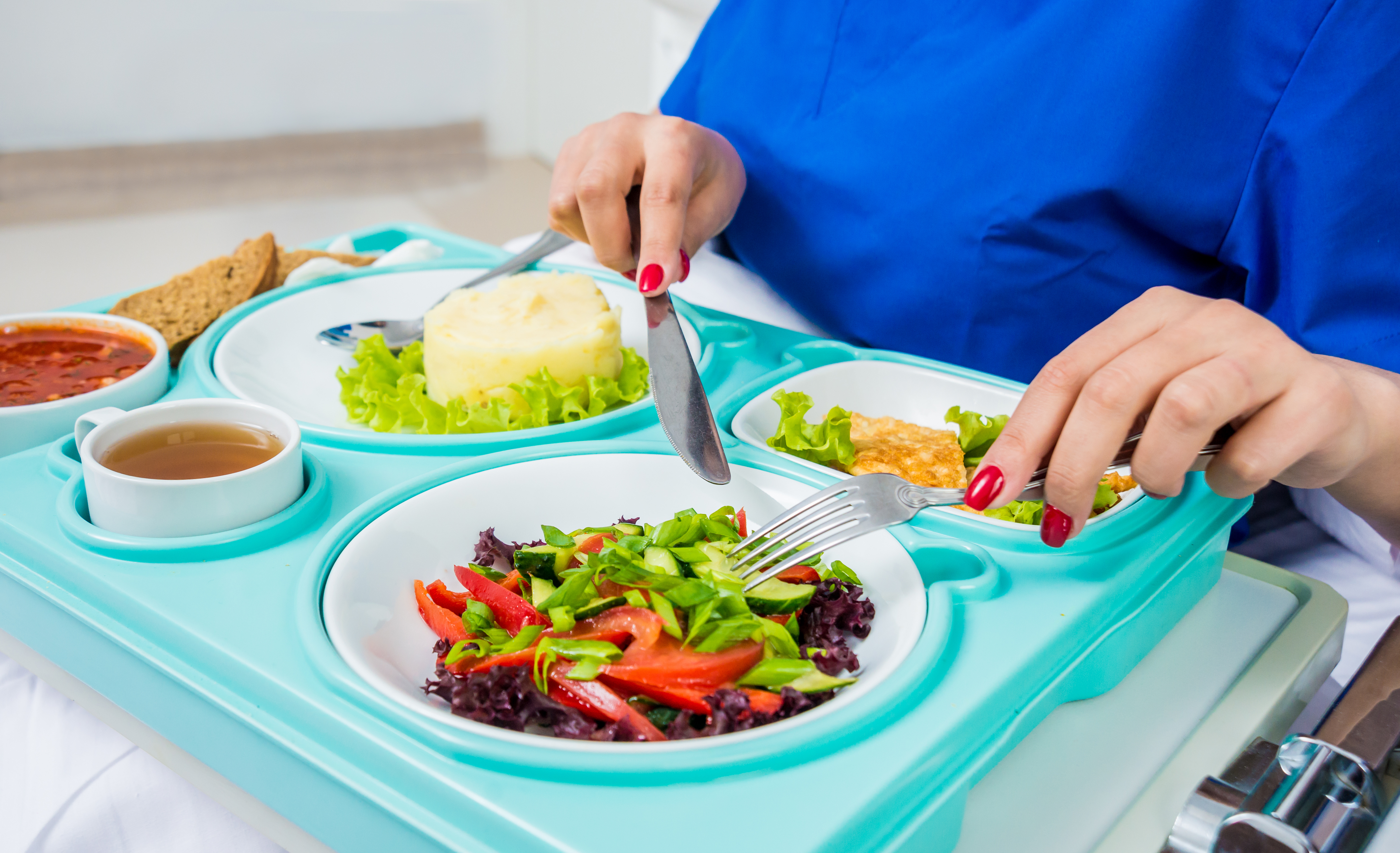 Hospital patient eating food