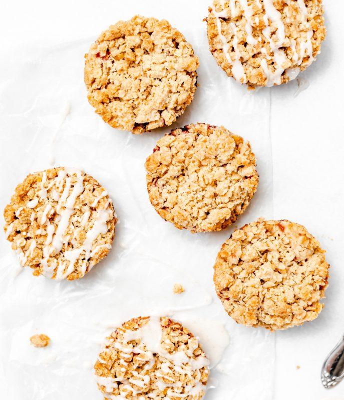 Vegan Strawberry Crumble Cookies With Vanilla Bean Glaze
