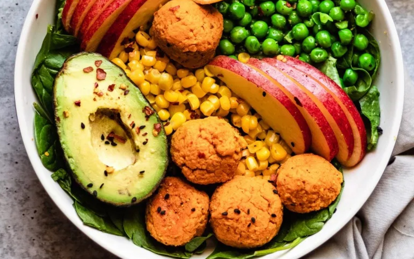 sweet potato falafel veggie bowl