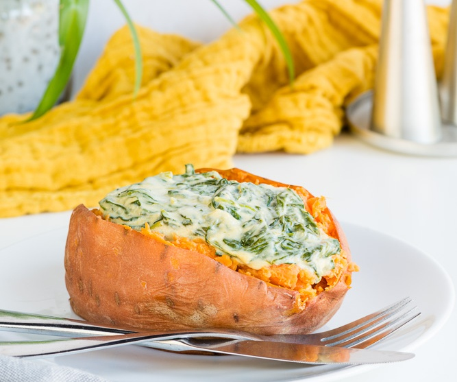 Vegan Sweet Potatoes With Creamed Spinach
