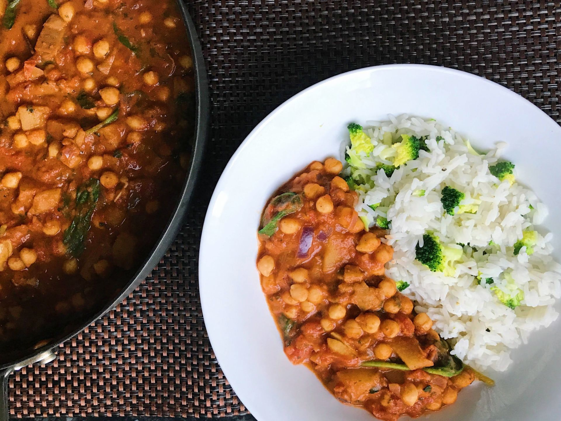 vegan chickpea curry with broccoli rice