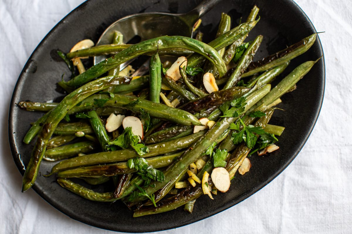 Vegan Blistered Green Beans With Preserved Lemon and Parsley