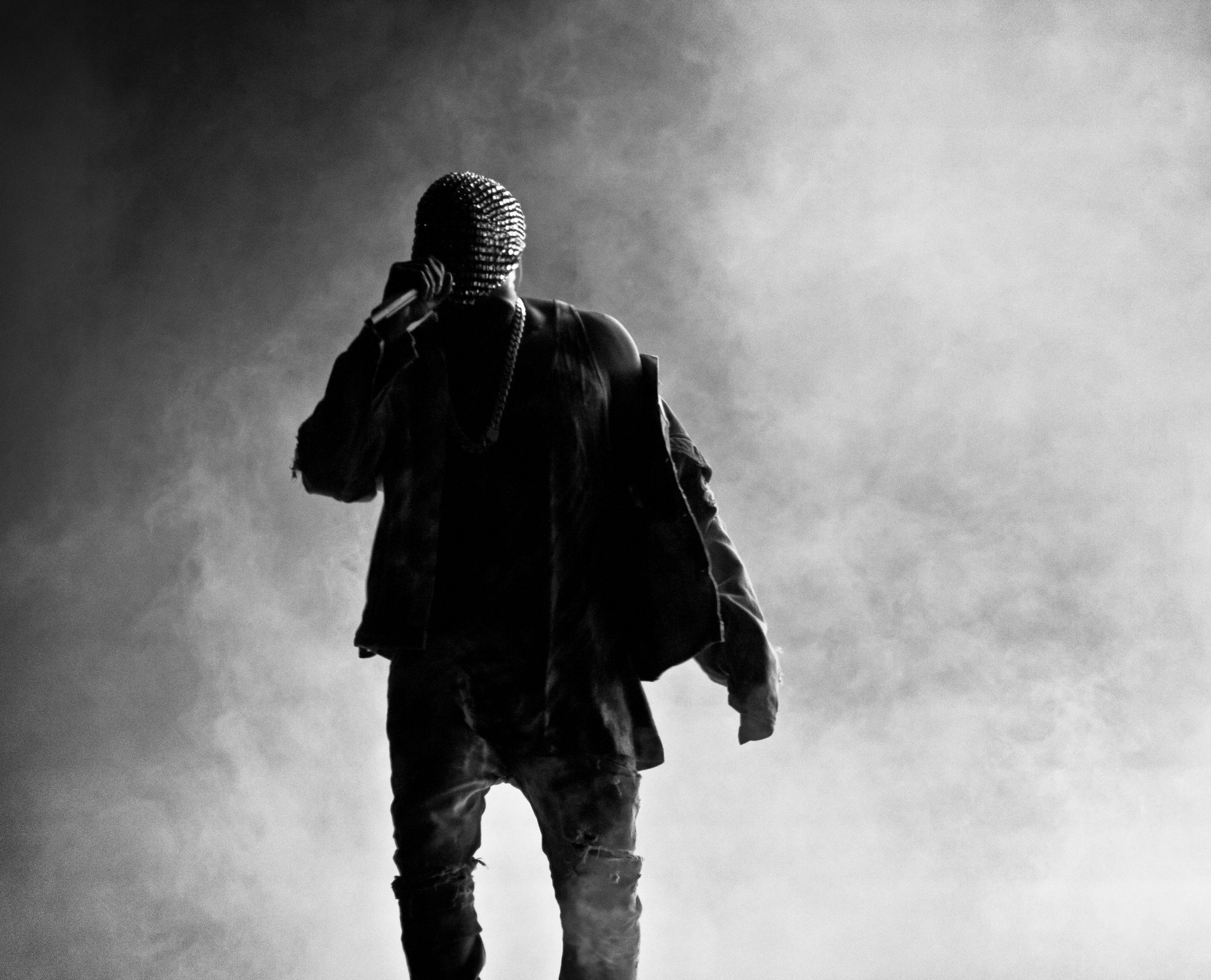 Kayne West from behind black and white