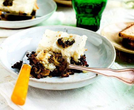 Vegan Black Lentil Charred Broccoli Shepherd's Pie