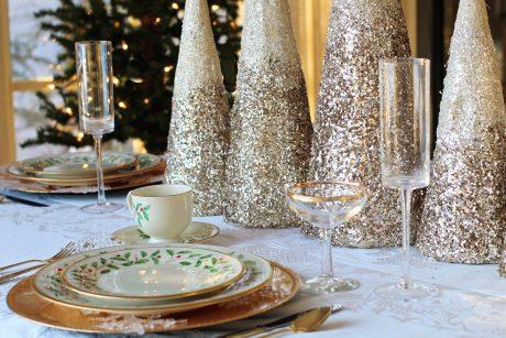 Festive table for vegan Christmas foods