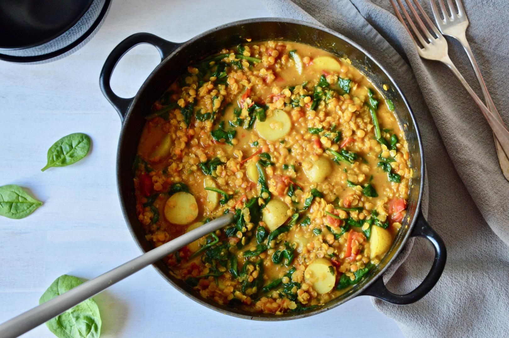 vegan one pot potato spinach and lentil dal