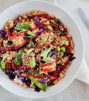 vegan fried rice bowl with tofu