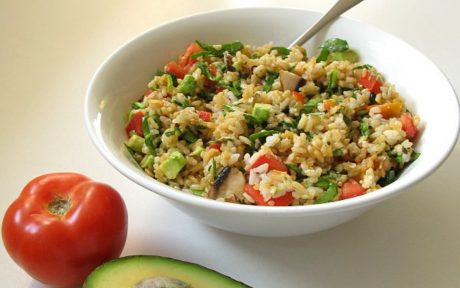 high raw rice salad