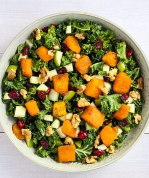 kale salad with cranberries and butternut squash vegan