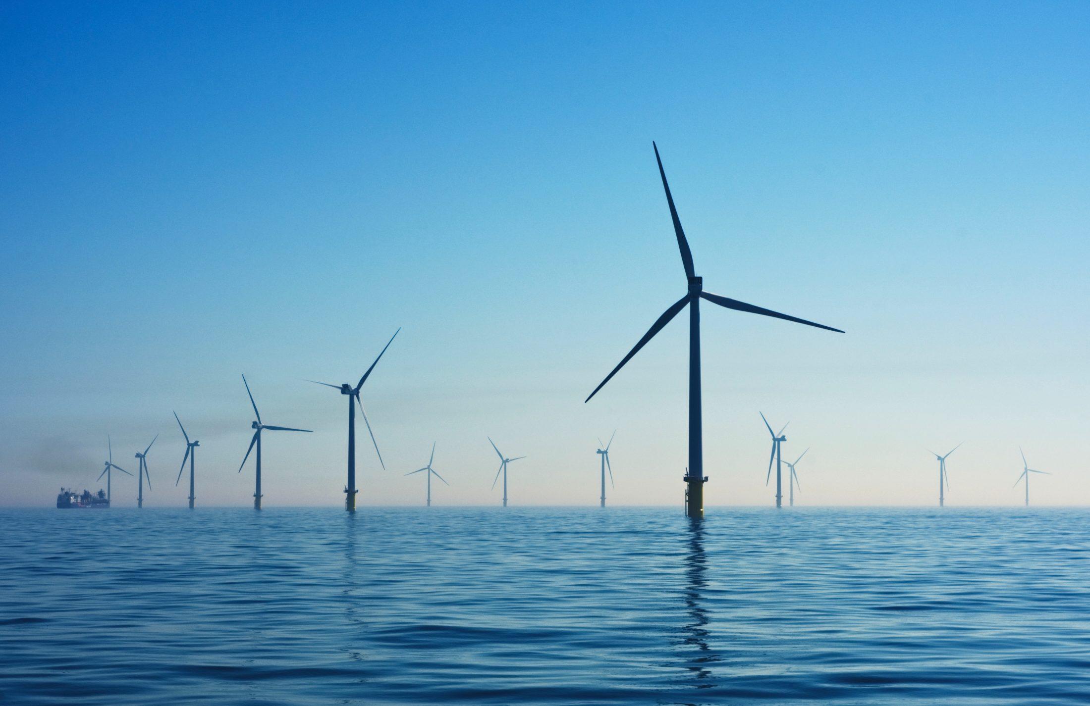Wind Mills In Ocean