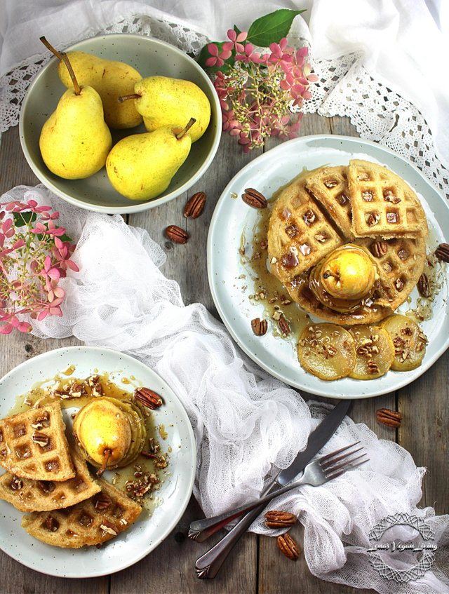 Vegan Autumn Waffles With Pear Mille Feuille